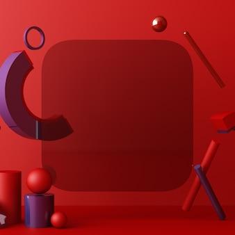 Sfondo geometrico astratto minimale con luce solare diretta nei toni del rosso e del blu. vetrina scena con podio vuoto per il rendering 3d di presentazione del prodotto
