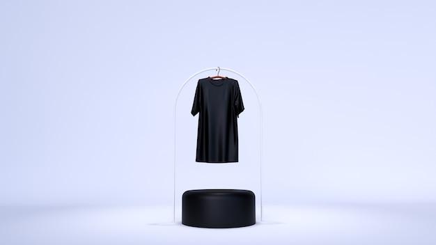 Sfondo minimo, scena di simulazione con podio per la visualizzazione del prodotto. e t-shirt bianca semplice