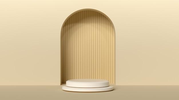 Sfondo minimo, mock up con podio per la visualizzazione del prodotto, forma geometrica bianca astratta