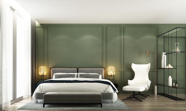 Interno camera da letto minimal mock up, letto grigio su sfondo muro verde vuoto, stile scandinavo, rendering 3d
