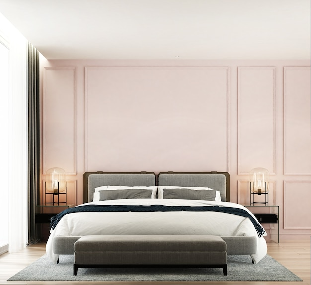Interno camera da letto minimal mock up, letto grigio su sfondo muro rosa vuoto, stile scandinavo, rendering 3d
