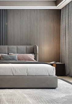 Interno camera da letto minimal mock up, letto grigio su sfondo muro vuoto, stile scandinavo, rendering 3d