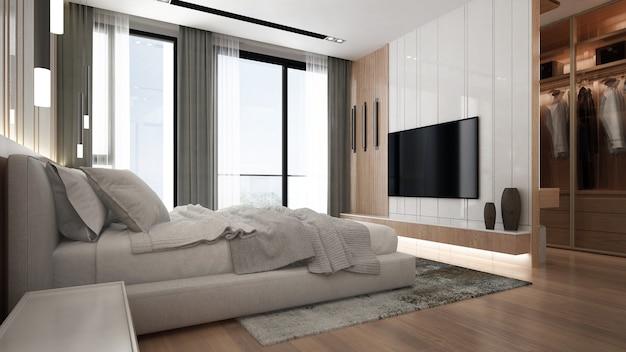 Interno camera da letto minimal mock up, letto grigio su sfondo muro vuoto e cabina armadio, stile scandinavo, rendering 3d