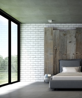Camera da letto minima e interior design del fondo di struttura del muro di mattoni bianco