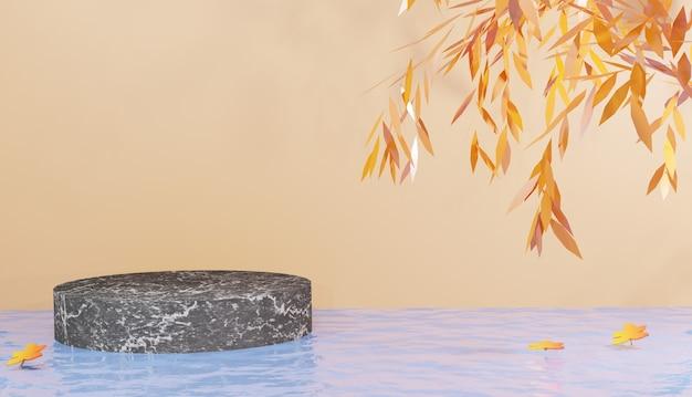 Podio minimo in marmo nero sull'acqua con sfondo arancione e foglie arancioni rendering 3d premium