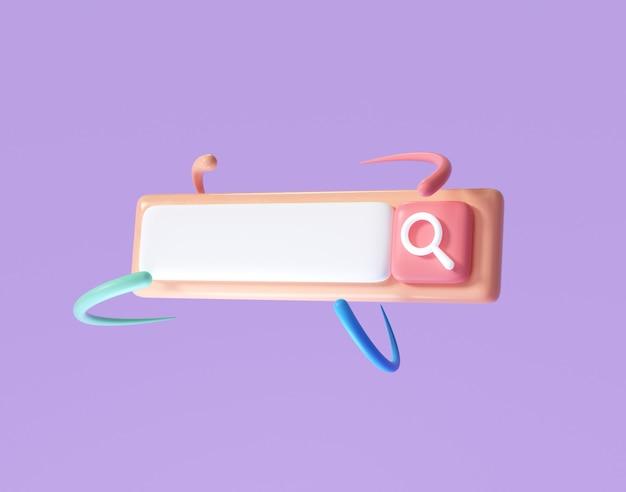Barra di ricerca vuota minima su sfondo rosa. concetto di ricerca sul web. rendering 3d