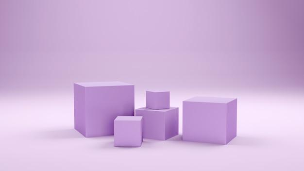 Scatole minimali e podio geometrico. scena con forme geometriche. vetrina vuota per la presentazione del prodotto cosmetico. rivista di moda. rendering 3d.