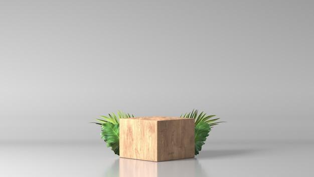Podio fine marrone minimo della vetrina della scatola di legno con le foglie nel fondo bianco