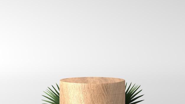 Podio di legno fine marrone minimo della vetrina del cilindro con le foglie nel fondo bianco