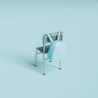 Sedia minimale con zainetto appeso