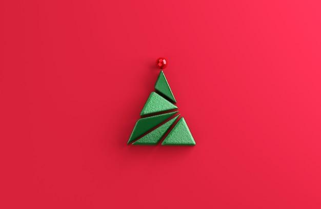 Forma geometrica minima dell'albero di natale su sfondo rosso.