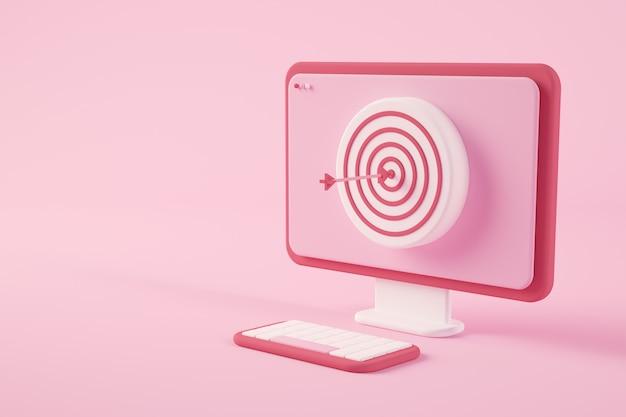 Computer minimale con concetto di rendering 3d bullseye