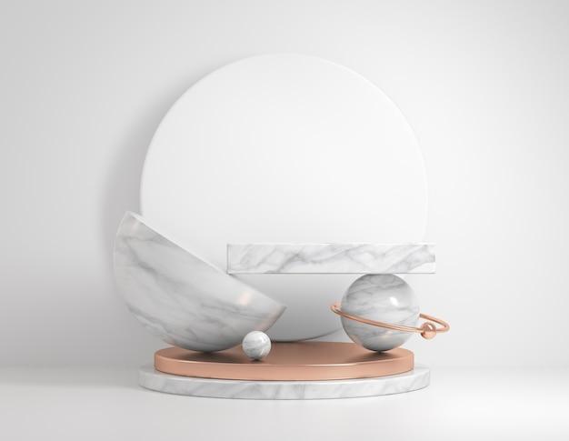 Geometria art déco di concetto minimale con piedistallo in marmo