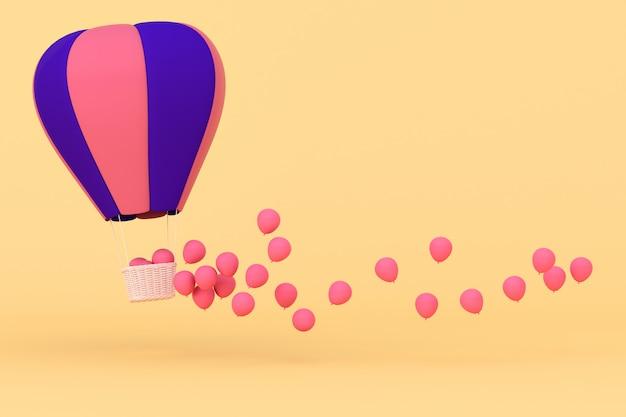 Concetto minimo di palloncini galleggianti e cestino di tessuto. rendering 3d.