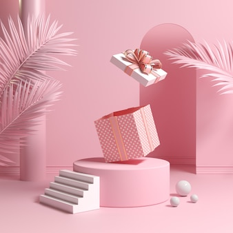 Il minimo concetto podio e scatola regalo rosa vuota rimbalzo aperto con foglie di palma rendering 3d