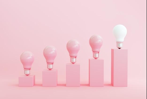 Concetto minimo di idea concettuale eccezionale grafico a barre della lampadina a luce bianca su sfondo rosa