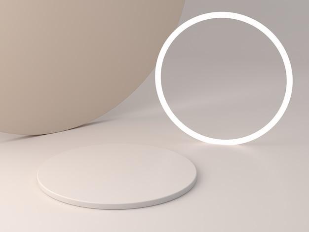 Podio cilindrico minimale per mostrare un prodotto in scena vuota con luci e colori pastello