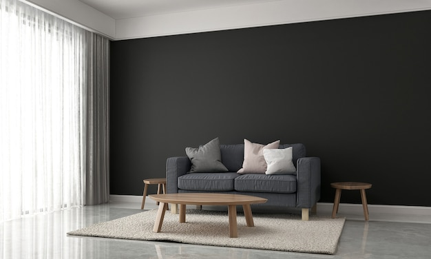 Decorazione minimale e design d'interni di sfondo texture muro nero e mock up soggiorno