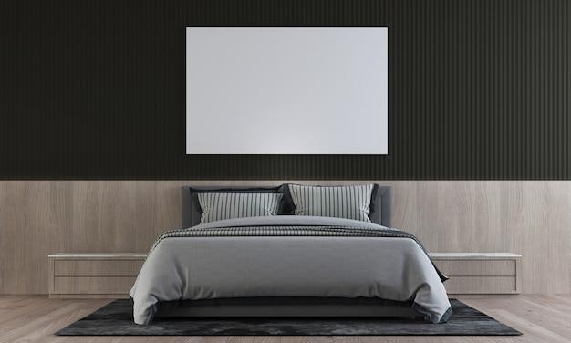 Il design minimale degli interni della camera da letto ha un tavolino in legno con parete nera, rendering 3d
