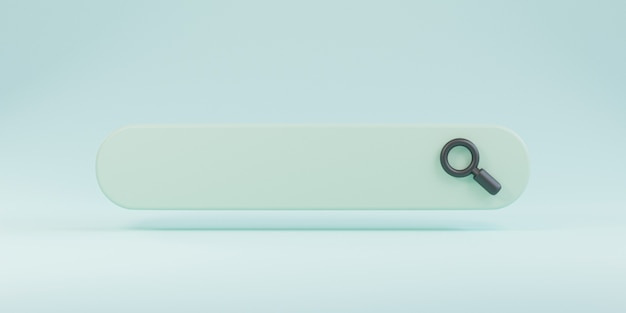 Barra di ricerca dal design minimale con lente d'ingrandimento su sfondo blu, concetto di motore di ricerca web mediante rendering 3d.