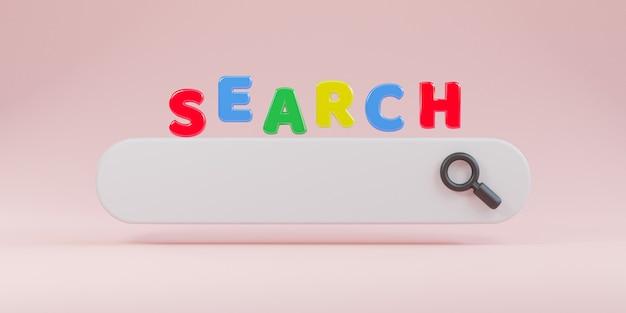 Barra di ricerca bianca dal design minimale con lente d'ingrandimento su sfondo rosa, concetto di motore di ricerca web mediante rendering 3d.