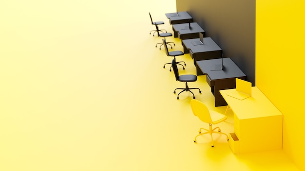 Concetto di idea minima e differenza, laptop sul tavolo da lavoro di colore giallo e nero. rendering 3d.