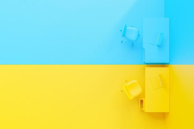 Concetto di idea minima e differenza, laptop sul tavolo da lavoro di colore giallo e blu. rendering 3d.