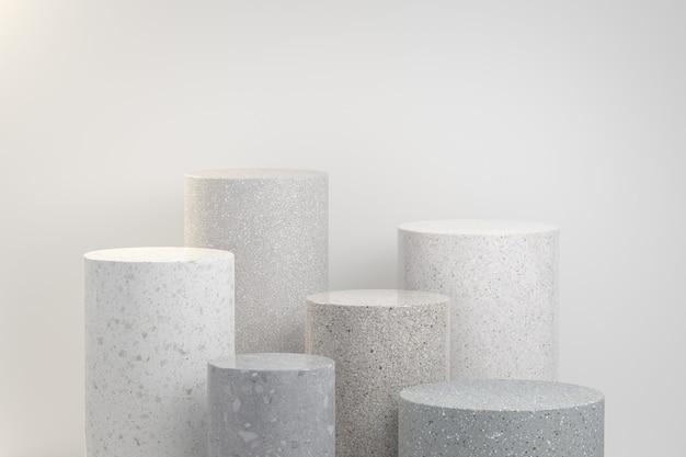 Visualizzazione minima pietra set collection geometria abstract background 3d render