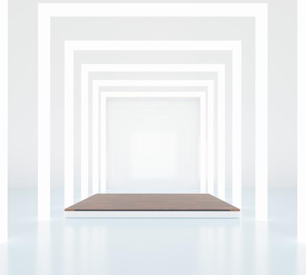 Fase vuota minima. futuro moderno concetto di interni. rendering 3d.