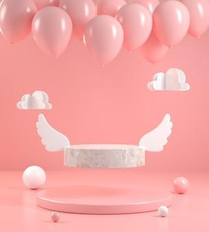 Forma minima in pietra display ala volare con palloncino su rosa pastello bakground astratto 3d render