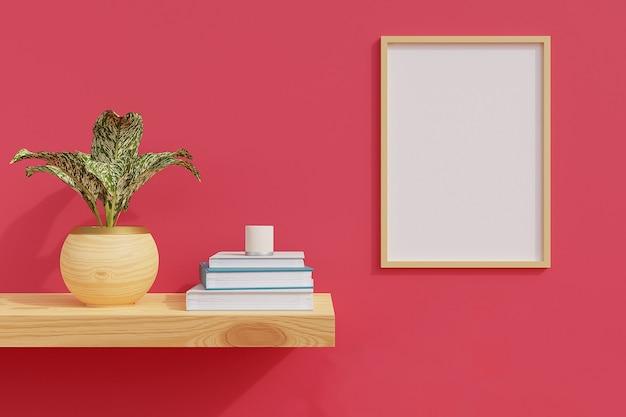 Cornice minimale sulla mensola in legno con piante in camera con parete rosa. rendering 3d.