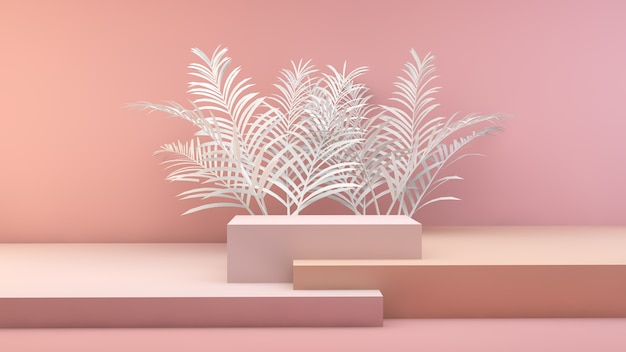 Minima scena geometrica con foglie di palma