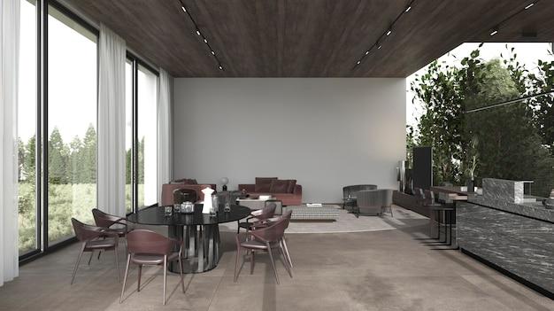 Cucina e soggiorno dal design interno minimo con piante 3d rendono l'illustrazione.