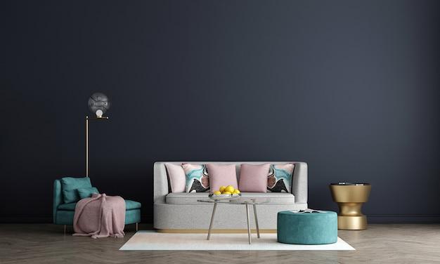 Il minimo design degli interni del soggiorno e della parete blu sullo sfondo del modello, rendering 3d