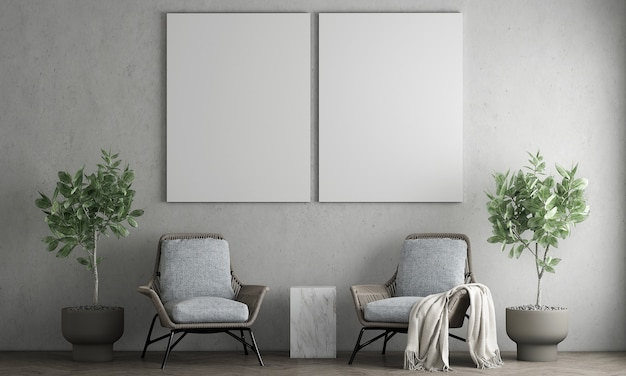 Design degli interni minimalista e soggiorno e cornice di tela vuota sul muro di cemento