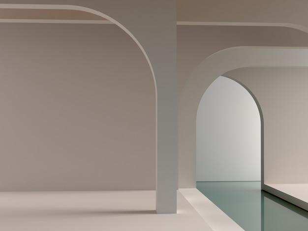 Scena interna minimale con archi di forme minimaliste sullo sfondo e acqua