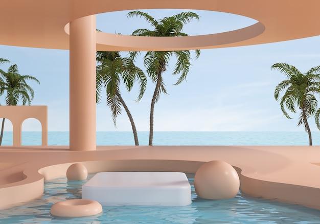 Scena minima del paesaggio sfondo della scena della spiaggia estiva con piedistallo bianco, piattaforma di visualizzazione del podio, rendering 3d.