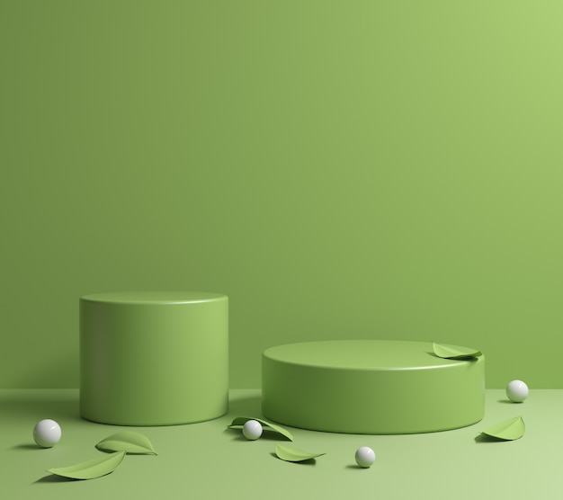 Minima piattaforma verde chiaro con foglie verdi rendering 3d