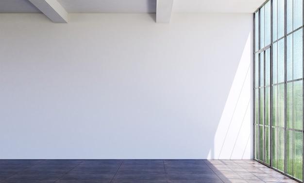 Soggiorno minimo e design d'interni del fondo di struttura della parete bianca vuota