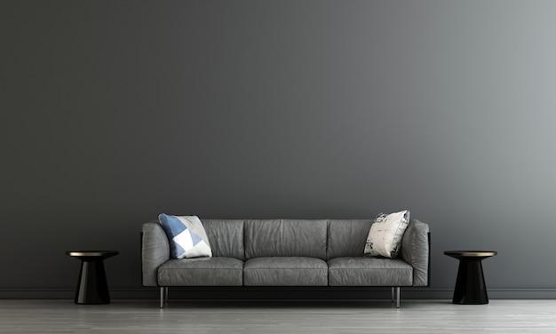 Interno minimo del soggiorno e sfondo nero del modello della parete