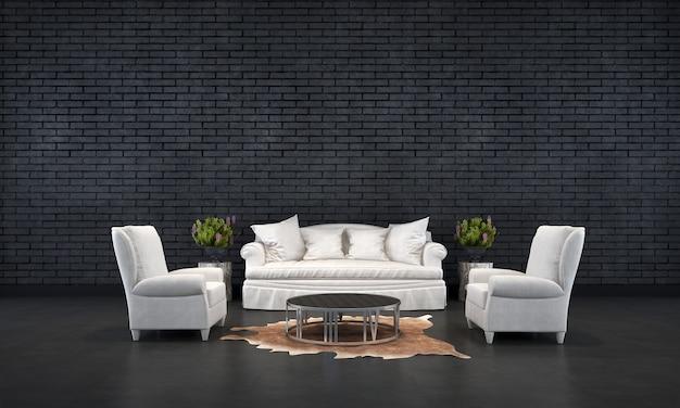 L'interior design minimale del soggiorno e lo sfondo della trama del muro di mattoni neri