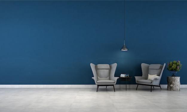 L'interior design minimale del soggiorno e lo sfondo blu della trama della parete