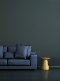 Interni minimi del soggiorno e mobili finti e sfondo blu della struttura della parete