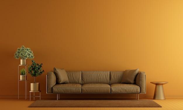 Interni minimi del soggiorno e mobili finti e sfondo giallo della struttura della parete