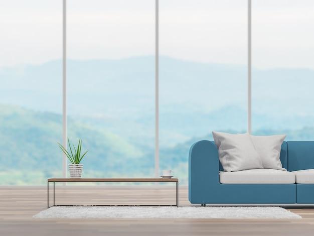 Soggiorno minimo con sfondo sfocato vista montagna 3d rendering arredato con divano in tessuto sfocato