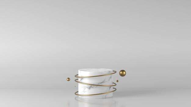 Podio del cilindro di marmo bianco di lusso minimo con la palla dorata nel fondo bianco
