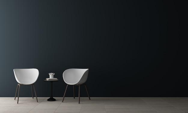 Minimal mock up decor interior design di accogliente soggiorno e parete blu sullo sfondo di texture, rendering 3d