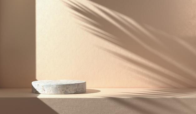 Mockup minimo vuoto podio di pietra con ombrellone in foglia di palma sul muro di cemento astratto sfondo 3d render