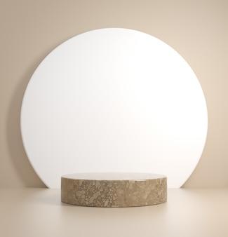 Minimo mockup podio pietra su sfondo beige rendering 3d