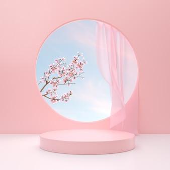Podio minimo per l'esposizione del prodotto a colori pastello con fiori in fiore su sfondo rosa